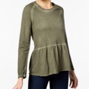 Style & Co olive color long sleeve shirt